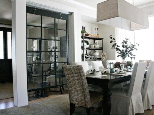 Decoration, Cool Original Half Wall Room Dividers By Cutted Down Salvage Yard Old Paned Window To Fit The Opening Between The Entry And Dining Room Design Ideas ~ Magical Half Wall Room Dividers with Bookshelves