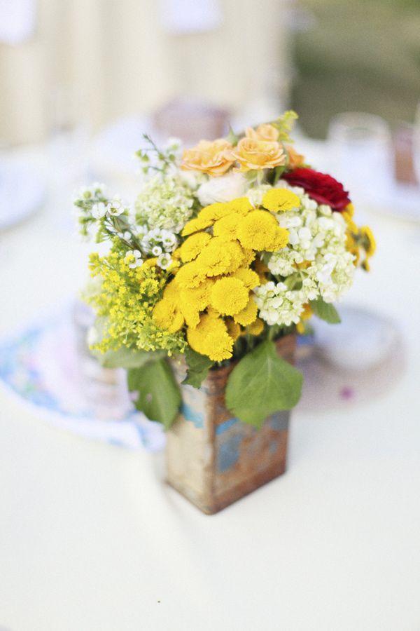 yellow flower centerpieces