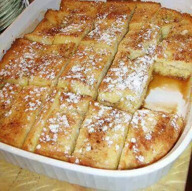French toast bake 1/2 c. melted butter, 1c. Brown Sugar, 1 loaf thick sliced bread, 4 eggs, 1 1/2 c. Milk, 1 t. Vanilla, cinnamon powdered sugar. Melt butter and sugar in bottom of pan, layer bread, mix eggs, milk,vanilla, pour half over bread, sprinkle w/cinnamon, 2nd layer bread, egg mix and cinnamon. Cover and chill overnight. Bake at 350° 45 min, first 30 min covered. Sprinkle with powdered sugar.