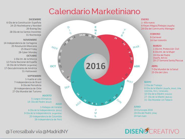 Calendario 2016 para imprimir y plantilla Excel