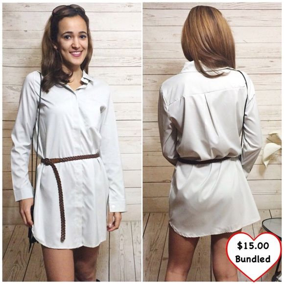 Khaki Shirt Dress Cute shirt dress. Lightweight and comfy. Buttons all the way down. Looks great with a brown belt! Does not come with belt. Never worn. This item is available! Dresses Mini