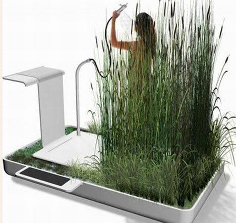 Gray water is tricky to deal with. It is wasteful to send it back into the sewer systems with the truly polluted waters found there, but it cannot be drunk or used to bathe or shower without some process of filtration. Like a self-contained interior ecosystem, this wonderful green shower design by Jun Yasumoto incorporates aesthetically pleasing natural elements that grow around you but also contains a series of systems that recycle your waste water into fresh, usable and fully drinkable…