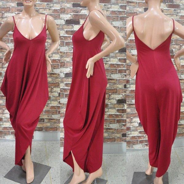 Sexy Women Jumpsuit V-Neck Bandage Loose Romper Black Red Cotton Casual Bodysuit Jumpsuit Pants Rompers Womens Jumpsuit