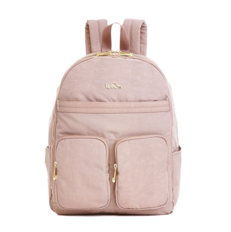 """Work it! Whether it's a weekday or a getaway, you'll love the dash of flash on the patent trim and gold zips of this backpack. Did we mention the protective laptop compartment and the exterior sleeve that slides right over your luggage handle? Just another couple of reasons to love it. Dimensions: 13"""" x 16.75"""" x 7""""  Weight: 1.63 lbs"""