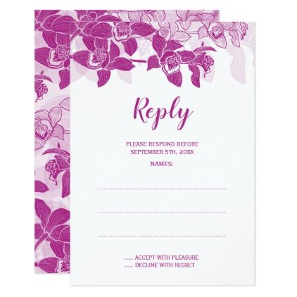 #Elegant Magenta Orchids Wedding Reply Cards - #weddinginvitations #wedding #invitations #party #card #cards #invitation #elegant