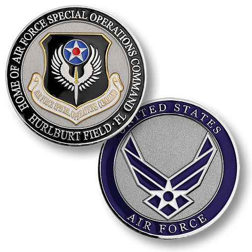"This Air Force Special Operations Command coin commemorates all ""Special Ops"" warriors who have displayed unusual courage and fearless determination while accomplishing clandestine missions around the"