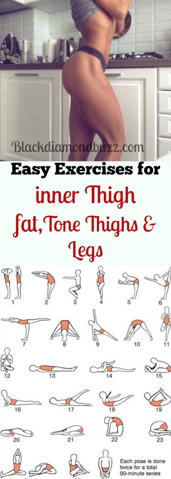 Best simple exercises to lose inner thighs fat and burn belly fat; tone thighs, legs and slimming waistline fast. It will not take more than 10 minutes for each workout every day and you are guaranteed of losing 10 pound in 7 days