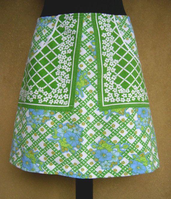 Groen Wit en Blauwe rok A-lijn rok katoenen rok door LUREaLURE