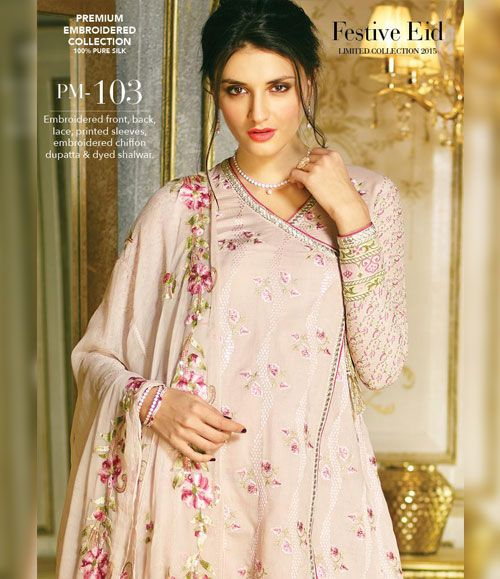 Gul Ahmed Premium Embroidered Chiffon Festive Collection 2015 PM-103