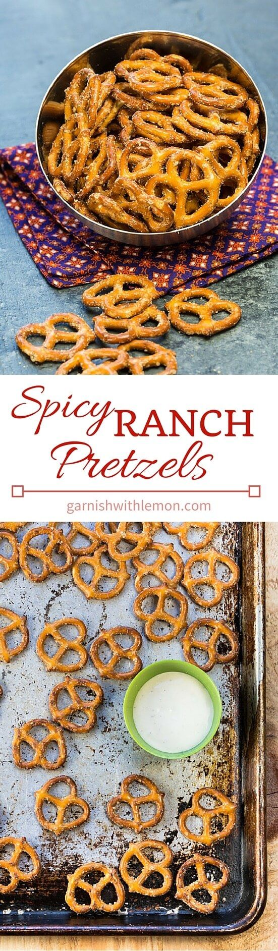 Need a quick and easy snack idea? These Spicy Ranch Pretzels are irresistible and couldn't be easier to make! ~ http://www.garnishwithlemon.com