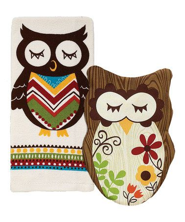 Take a look at this Sleepy Owl Pot Holder & Kitchen Towel Set by Ritz on #zulily today!