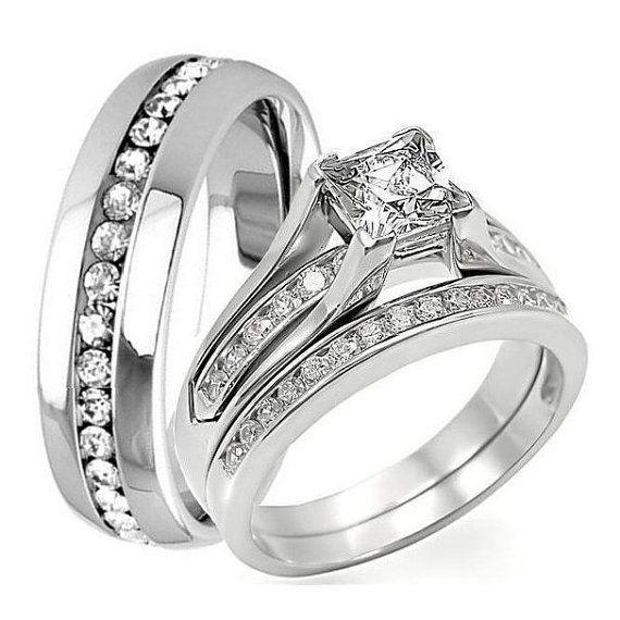 3 pc his hers engagement wedding bridal band ring set princess cut 125ct cz cubic