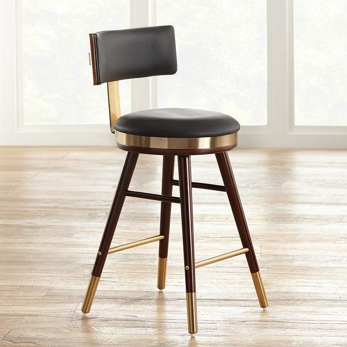 Home Stools Bar Stools Black Leather Bar Stool With Bronze Steel Frame Contract Quality Dining Room Small Bar Stools Restaurant Chairs For Sale