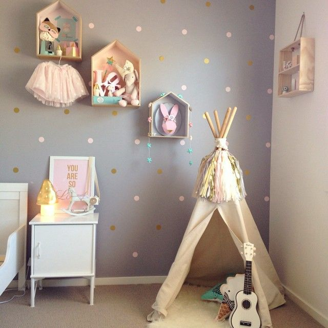 Darling kids room styled by Indigo & the Baby to Be. Tipi teepee and little house shelves. pinterest.com/IndigoAndBaby