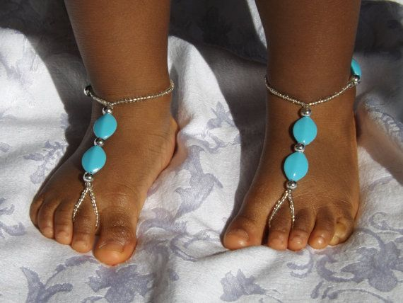 Baby Barefoot sandals Baby jeweley Toddler by SubtleExpressions, $12.00
