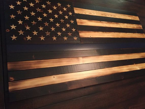 Thin Blue Line Flag, Rustic American Flag, Law Enforcement, Police Flag, Torched Flag, Wooden American Flag, Hand-carved Stars