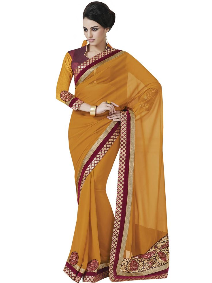 #Magnificent Yellow!!  #Magnificent Yellow Georgette Saree design with Embroidery.Maroon Raw Silk Blouse Comes as an Unstitched Material.  INR 1362.00 Only  Shop@ http://goo.gl/Yd4Hjw
