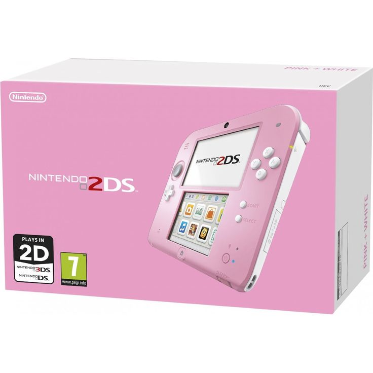 Nintendo 2DS (Pink) * In stock, usually ships within 24hrs * Compatibility with all Nintendo 3DS and most Nintendo DS games * Access to the Nintendo eShop, with digital games, free demos, and special offers * Wireless connectivity for multiplayer and co-op play * Parental controls that let adults manage the system's contentOffering you additional variety and value in your handheld gaming options, the Nintendo 2DS is a streamlined version of the Nintendo 3DS that will play games available ...
