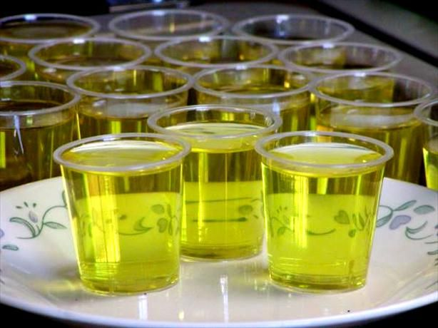 Island Pineapple Coconut Jello Shots...1 (1 ounce) package of island pineapple Jell-O   1 cup boiling water   1 cup Malibu rum