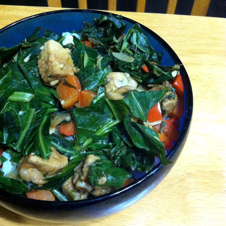 Cozy Collards and Tempeh Dinner #ppk #tempeh #collards #vegan #dinner