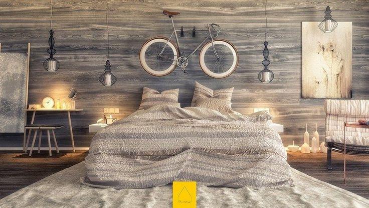 chambre contemporaine avec une déco murale accrocheuse en panneau décoratif mural en bois stratifié grisâtre et un vélo accroché
