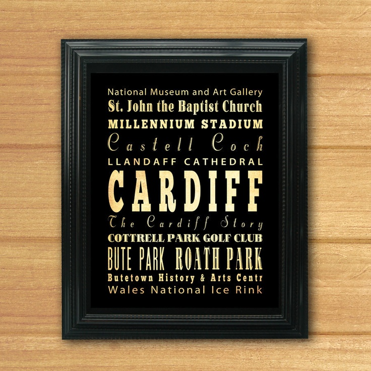 Cardiff, United Kingdom, Typography Art Poster / Bus / Transit / Subway Roll Art 8X10-Cardiff's Attractions Wall Art Decoration-LHA-240. $19.95, via Etsy.