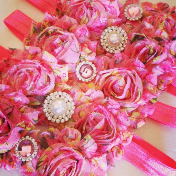 Pink floral headbands. Handmade.
