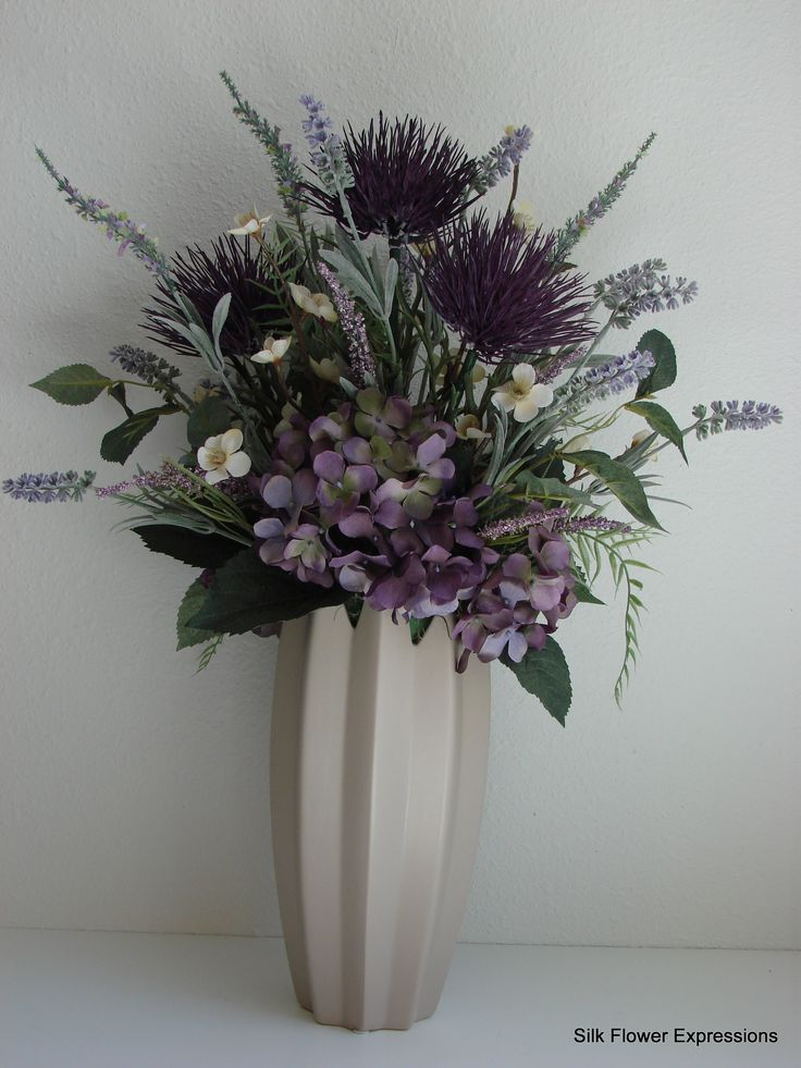 Purple Thistle, Lavender, hydrangea