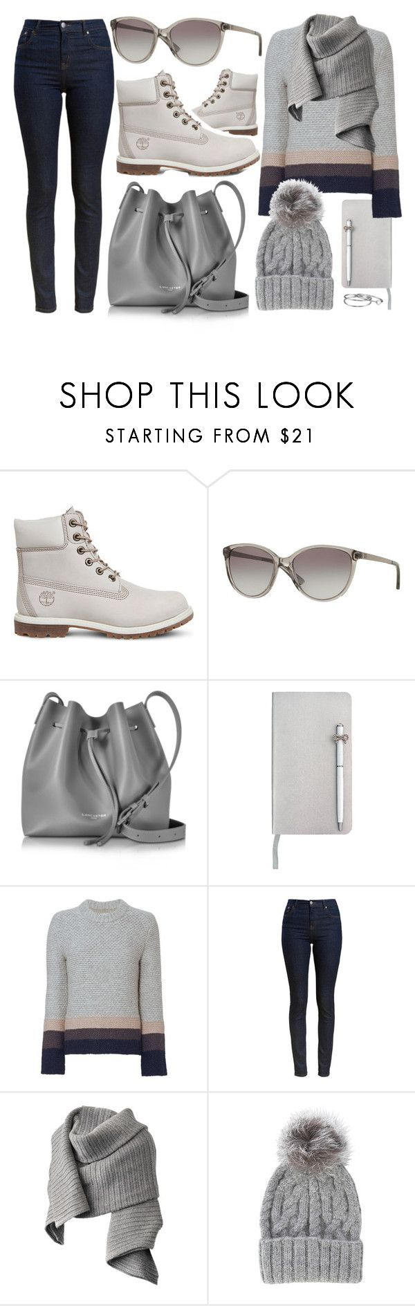 """Winter Casual"" by smartbuyglasses ❤ liked on Polyvore featuring Timberland, DKNY, Lancaster, ICE London, Brochu Walker, Barbour, Acne Studios, Eugenia Kim, Gorjana and casual"