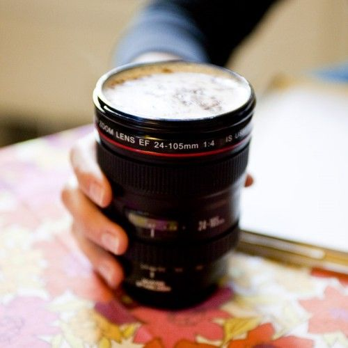 Camera Lens Coffee Mug on Yellow Octopus  #giftsformen #fathersday #fathersdaygiftideas #gifts #lens #coffee #mug