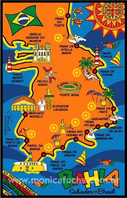 SALVADOR Mapa - Bahia - Brasil