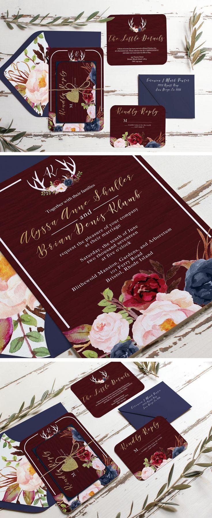 confetti daydreams wedding invitations%0A Marsala burgundy gold and navy rustic wedding invitation  Unica Forma makes  custom invitations like this