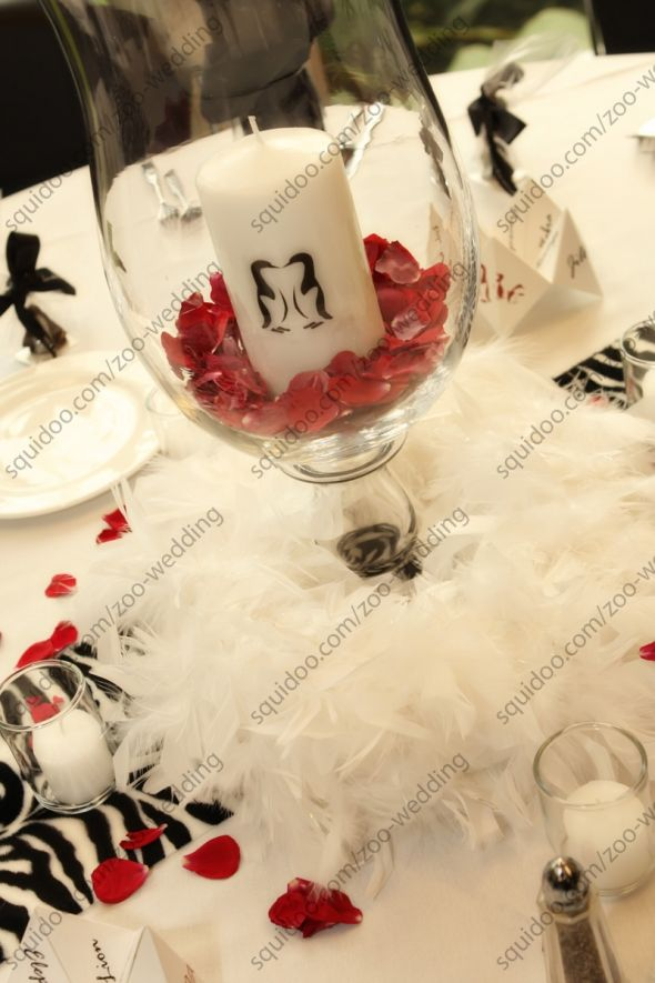 leopard runners, some fancy feathers and candles