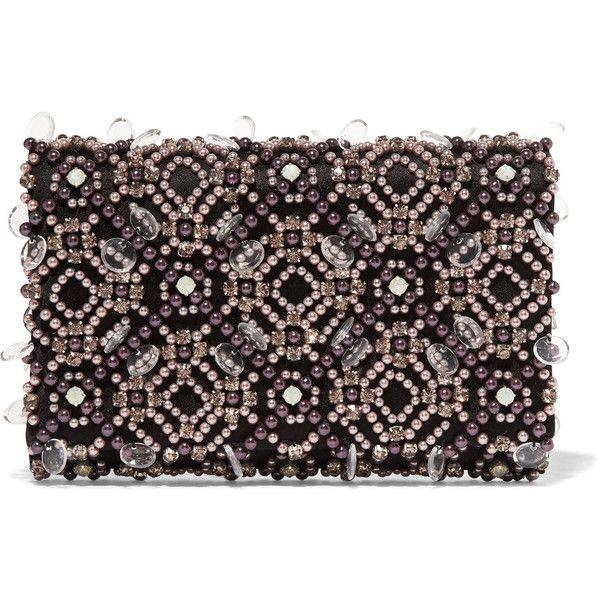 Oscar de la Renta Embellished satin clutch (82,260 PHP) ❤ liked on Polyvore featuring bags, handbags, clutches, oscar de la renta, purses, purple, clear handbags, hand bags, satin clutches and beaded hand bags