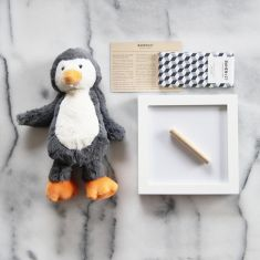 Boy's fingerprint clay kit with penguin toy & gourmet chocolate