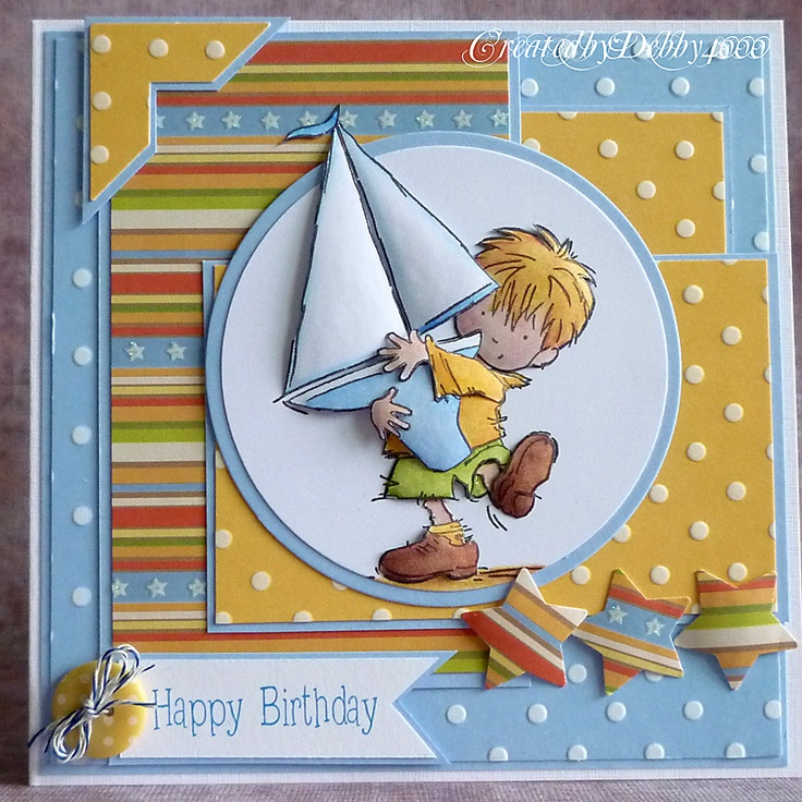 handmade card ...blue, yellow, white and a splash of rea ... adorable focal imaga of a little guy toting a huge sailboad ... lots of layers ... coordinating papers ... delightful!!