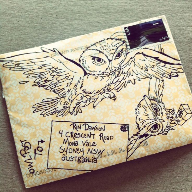 a cool way to decorate an envelope being sent to a Harry Potter fan -- paperedthoughts