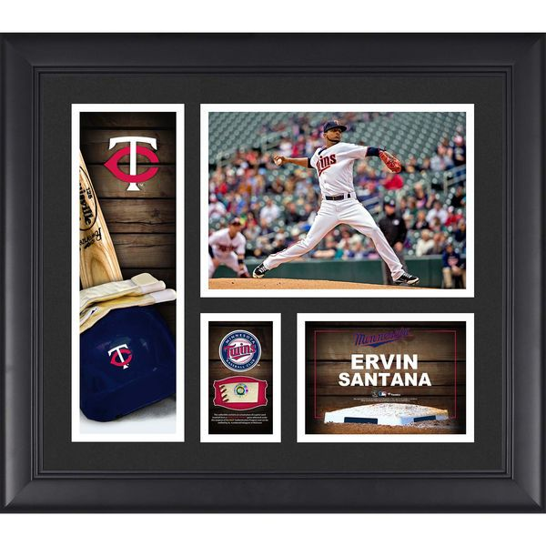 """Ervin Santana Minnesota Twins Fanatics Authentic Framed 15"""" x 17"""" Player Collage with a Piece of Game-Used Ball - $79.99"""