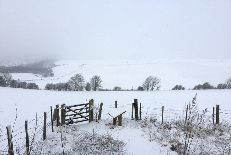 Snow coats the South Downs near Ditchling in East Sussex today, as heavy snowfall is affec...
