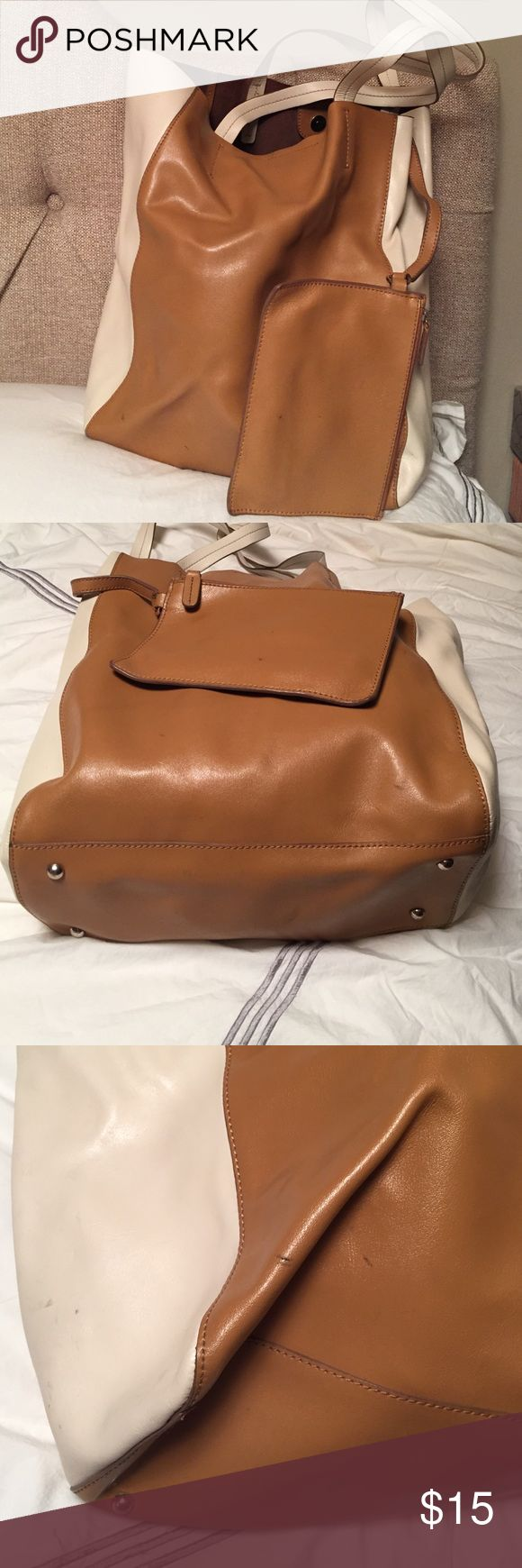 Banana republic real leather bucket bag tote Great condition. Some marks on outside as pictured. Excellent lining condition. Comes with  removable interior pouch. Banana Republic Bags Totes
