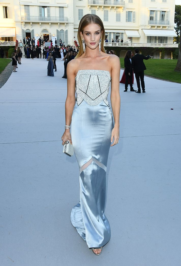 Formal Dress Inspiration | What All the Celebs Wore to the 2016 amfAR Gala | Rosie Huntington-Whitely in a satiny strapless pastel blue gown