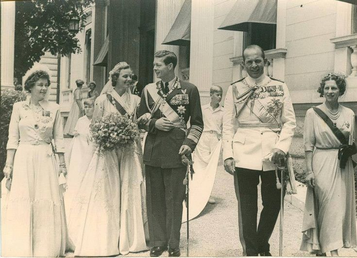 The weeding of King Mihai I (Michael I) with Ana de Bourbon-Parma in Greece [June 10, 1948]