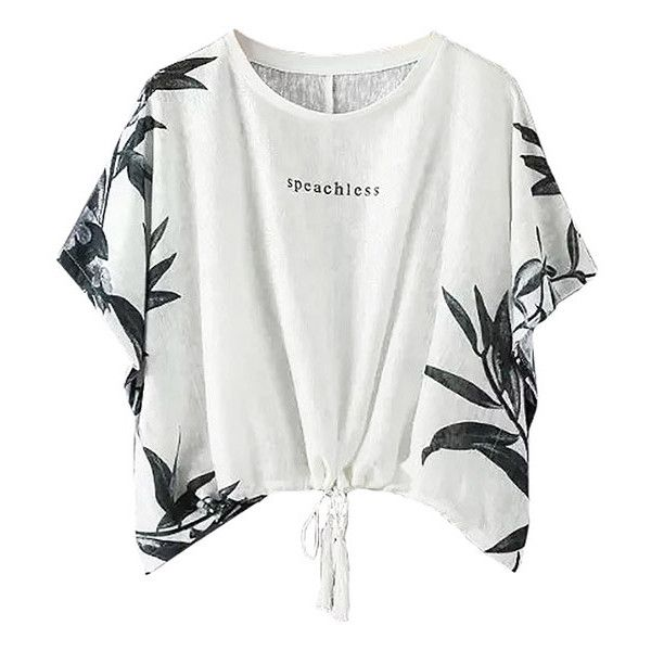 Speechless Script Batwing Summer Top-WHITE-S ($18) ❤ liked on Polyvore featuring tops, white, white summer tops, short tops, white top, white batwing top and summer tops