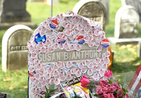 The grave of women's suffrage leader Susan B. Anthony is covered with