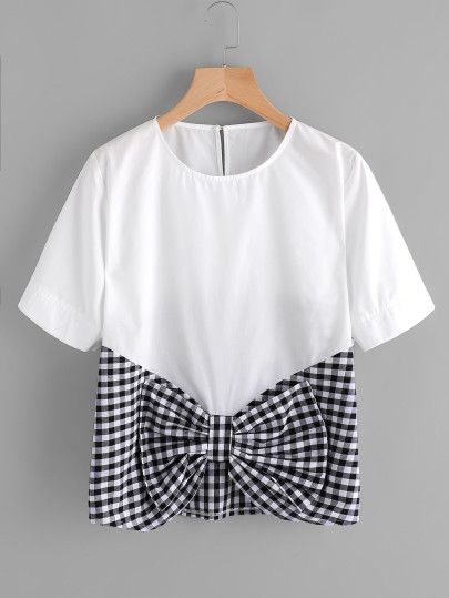 Contrast Gingham Bow Front Keyhole Top