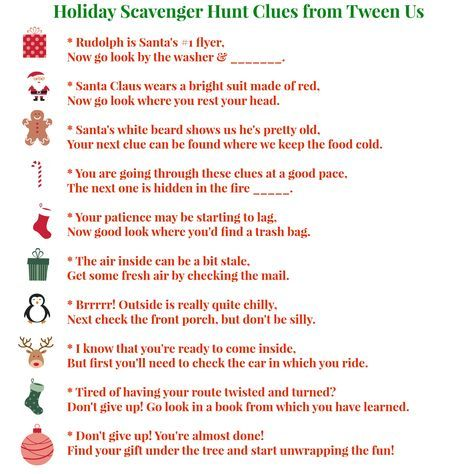 Scavenger Hunt for Christmas gifts for teens. Great since gifts are getting smaller!