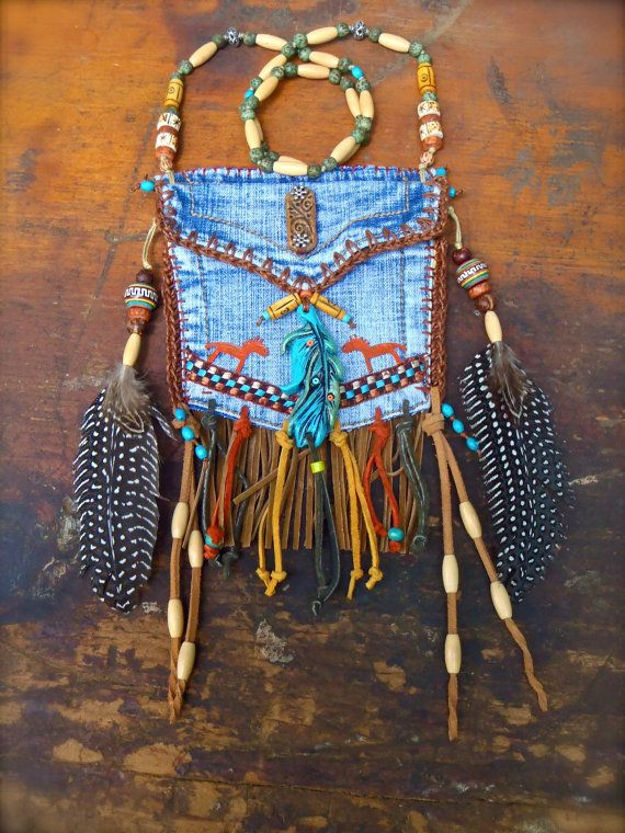 custom make DENIM medicine bag tribal american INDIAN by GPyoga