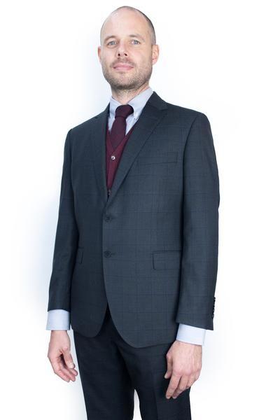 Charcoal Navy Windowpane Suit