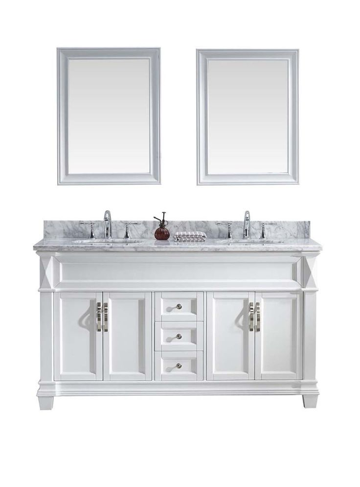 "60"" Victoria Double Bathroom Vanity in White with White white Marble Top"