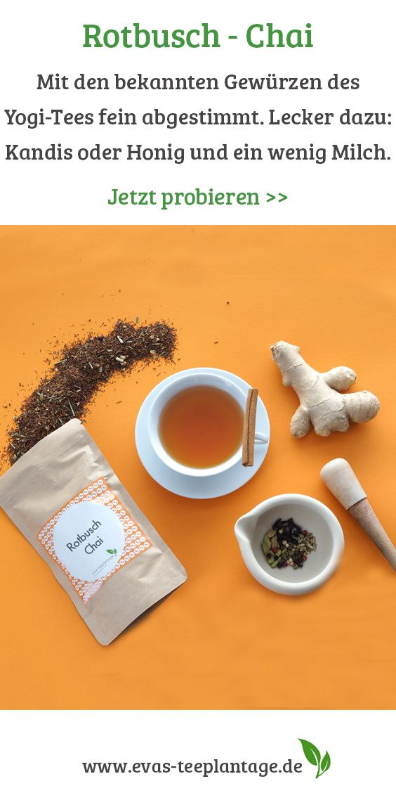 Rooibos-Chai ist Rotbuschtee, der mit den bekannten Gewürzen des Yogi-Tees fein abgestimmt ist. Der Vorteil dabei: Sie müssen die klassischen Chai-Gewürze nicht erst mit Wasser im Topf aufkochen, sondern genießen den Geschmack nach nur drei bis fünf Minuten Ziehzeit direkt als Teeaufguss. Lecker dazu: Kandis oder Honig und ein wenig Milch.